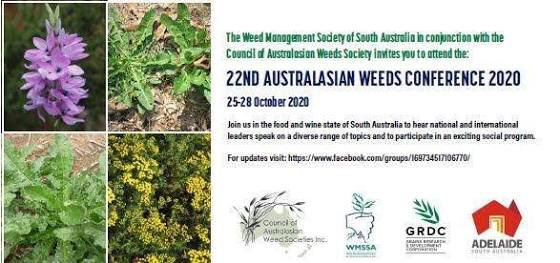 22nd Australasian Weeds Conference (22AWC), 25-29 October 2020, Adelaide, Australia.